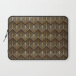 Facing Suns - Gold and Black - Classic Vintage Art Deco Pattern Laptop Sleeve