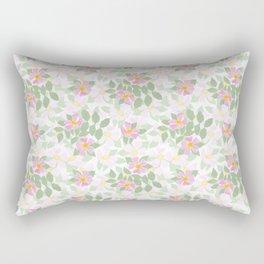 Pink Dogroses on White Rectangular Pillow