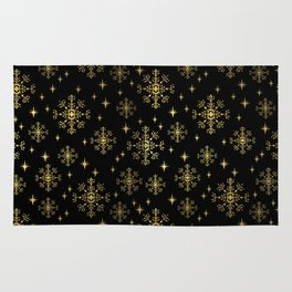 Gold and black snowflakes winter minimal modern painted abstract painting minimalist decor nursery Rug