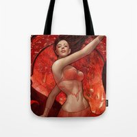 artgerm Tote Bags featuring Dancer by Artgerm™