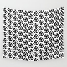 Hand drawn flower doodle pattern Wall Tapestry