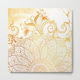 Mandala - Golden brush Metal Print