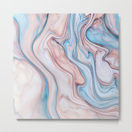 Marble| pink & blue Metal Print