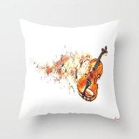 violin Throw Pillows featuring violin by arnedayan