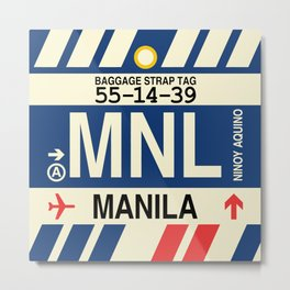 MNL Manila • Airport Code and Vintage Baggage Tag Design Metal Print