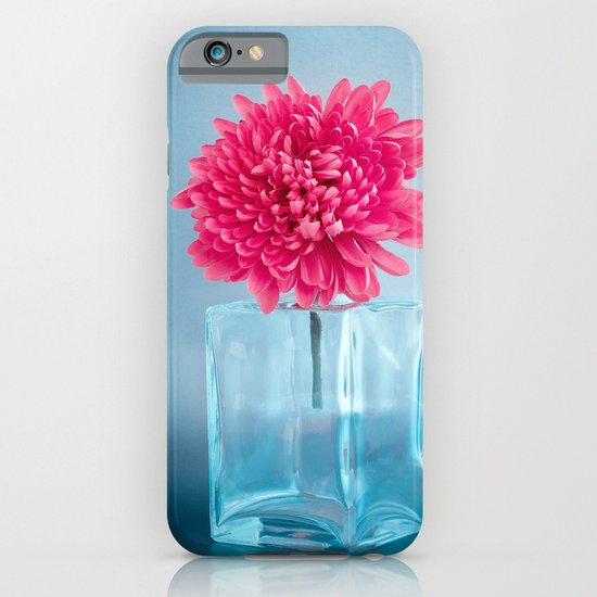 LE NOBLE - Pink flower in blue glass vase iPhone & iPod Case