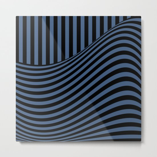 Blue , black , striped Metal Print
