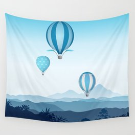Hot air balloons - blue mountains Wall Tapestry