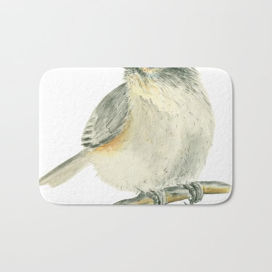 Tit bird, watercolor painting Bath Mat