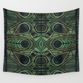 Birds Kissing, Tribal-Inspired Pattern in Green, Golds & Black Wall Tapestry