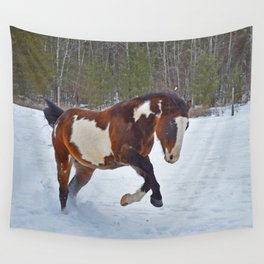Romping in the snow Wall Tapestry