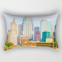 Downtown Kansas City Skyline Tilt Shift Photograph Rectangular Pillow