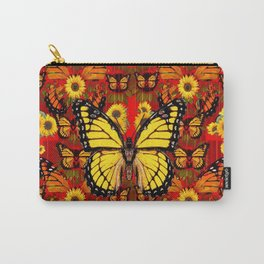 COFFEE BROWN MONARCH BUTTERFLY SUNFLOWERS Carry-All Pouch