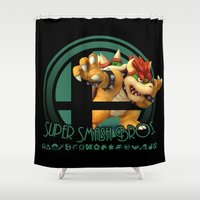 super smash bros Shower Curtains featuring Bowser - Super Smash Bros. by Donkey Inferno