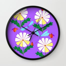 White Spring Daisies, Dragonflies, Lady Bugs lavender Wall Clock