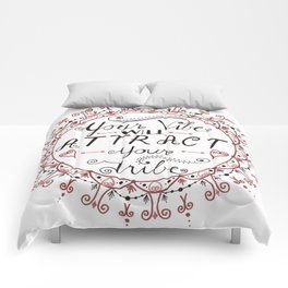 'Your Vibe Will Attract Your Tribe' Quote Mandala Red Comforters