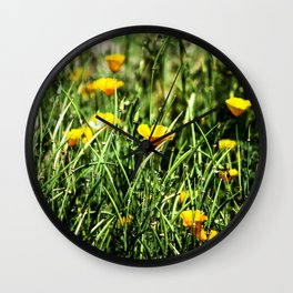Little Orange Flowers Wall Clock