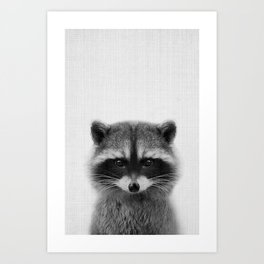 raccoon headshot Art Print