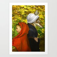 red riding hood Art Prints featuring Red Riding Hood by Diogo Verissimo