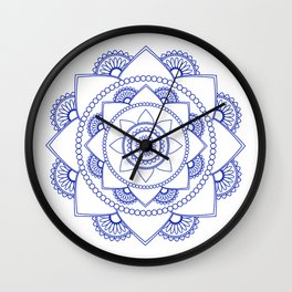Mandala 01 - Royal Blue on White Wall Clock