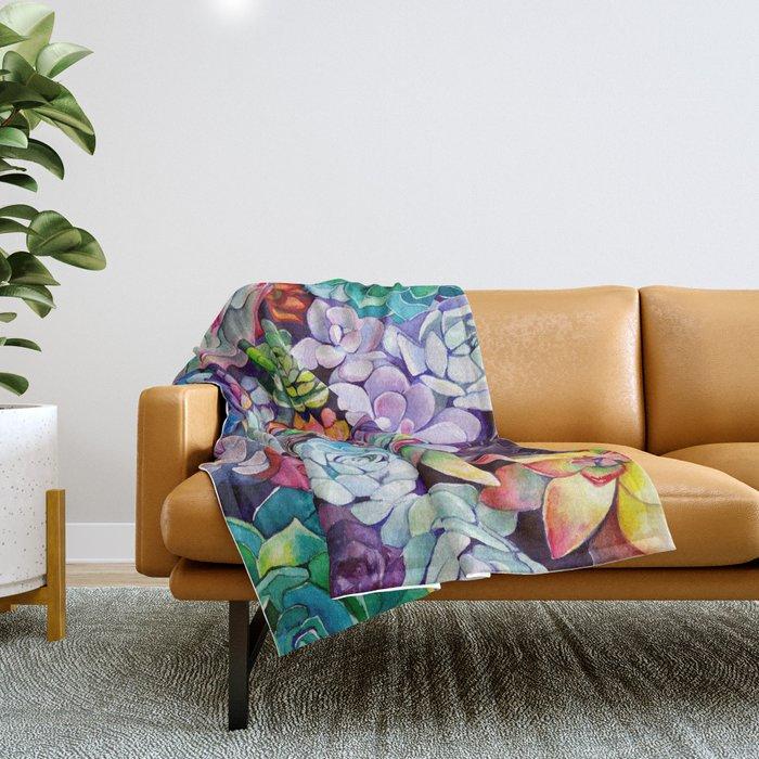 Succulent Garden Throw Blanket