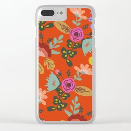 Funky Red Floral Clear iPhone Case