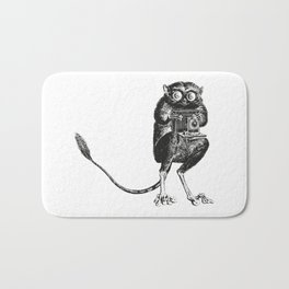Say Cheese! | Tarsier with Vintage Camera | Black and White Bath Mat