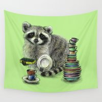 racoon Wall Tapestries featuring Raccoon by Anna Shell