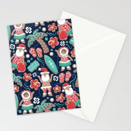 Mele Kalikimaka Hawaiian Christmas gingerbread cookies // navy blue background Stationery Cards