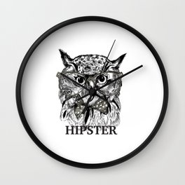 Hispter owl background Wall Clock