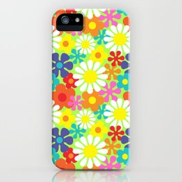 Retro Hippie Daisies and Flowers Pattern iPhone Case