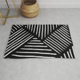 Lines and Patterns in Black and White Brush Rug
