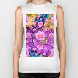 Delicate Pink Roses & Colored Flowers Art Nature Design Biker Tank