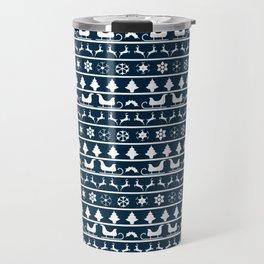 Midnight Blue & White Christmas Sweater Knit Pattern Travel Mug