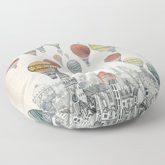 Voyages Over Edinburgh Floor Pillow By Fleck