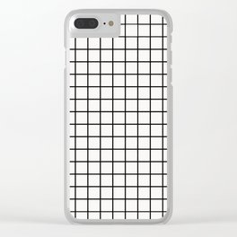 White & Black Grid Clear iPhone Case