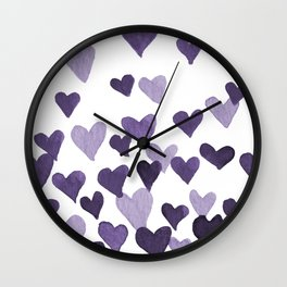 Valentine's Day Watercolor Hearts - ultraviolet Wall Clock