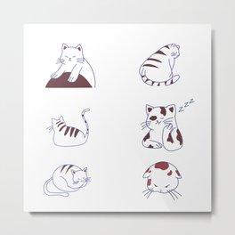 Cute Kawaii Sulky Cats Kitty Kitties Cat Sook Cat Pak Pack Kit  Collection Metal Print