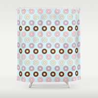 doughnut Shower Curtains featuring Doughnut Polka by Karolis Butenas