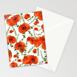 Red Poppies Eucalyptus Dream Pattern #1 #floral #decor #art #society6  Stationery Cards