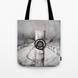 Cabernet - black and white wine photo vineyard Tote Bag