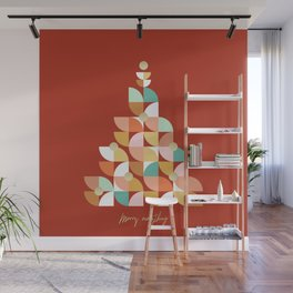 Retro Christmas Tree on Red Wall Mural