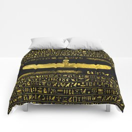 Golden Egyptian God Ornament on black leather Comforters
