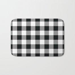 Buffalo Check Black White Plaid Pattern Bath Mat