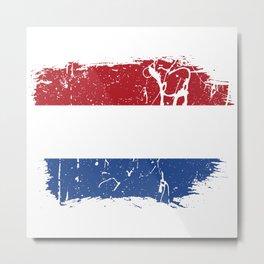 Distressed Netherlands Flag Graffiti Metal Print