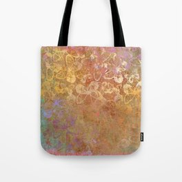 Pop Painted Pattern:  Gold on Gold with pink watercolor abstract ornament inky butterflies Tote Bag