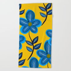 Blue Flowers and Yellow Pattern Beach Towel