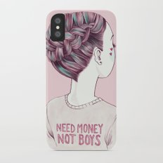 need money not boys Slim Case iPhone X
