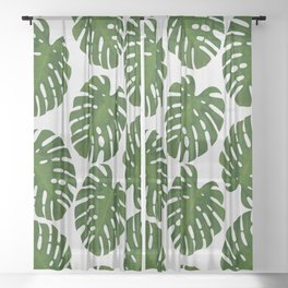 Monstera Leaf III Sheer Curtain