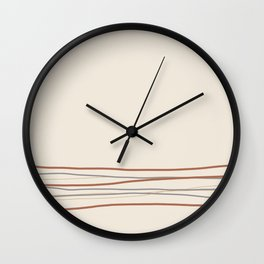 Off White Solid Color with Minimal Scribble Stripes Bottom Brown, Gray, And Beige Wall Clock